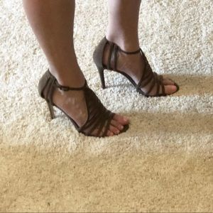 Elie Tahari brown suede gladiator sandal stiletto